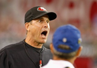 GLENDALE, AZ - OCTOBER 29: Head Coach Jim Harbaugh of the San Francisco 49ers reacts to a penalty called by an official during the second quarter of an NFL game against the Arizona Cardinals at University of Phoenix Stadium on October 29, 2012 in Glendale, Arizona. (Photo by Ralph Freso/Getty Images)