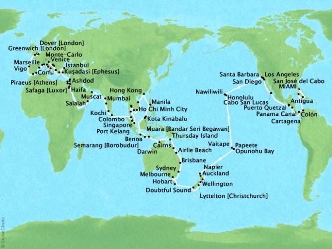 Viking World Cruise Map