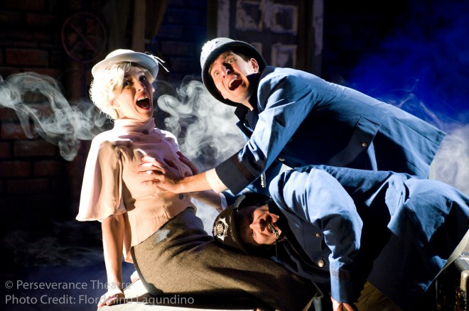 Rebecca Noon, Jed Hancock-Brainerd and Roblin Gray Davis in Alfred Hitchcock's The 39 Steps at Perseverance Theatre 2011