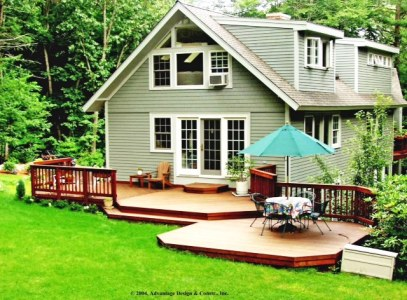 Two Tiered deck cascades to lawn, Wayland