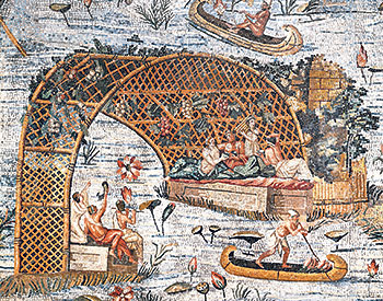 Mosaic from the ancient Roman city of Palestrina depicting life on the banks of the Nile c75BC