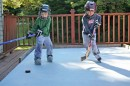 Ice players on a deck