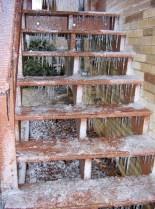Icy deck steps