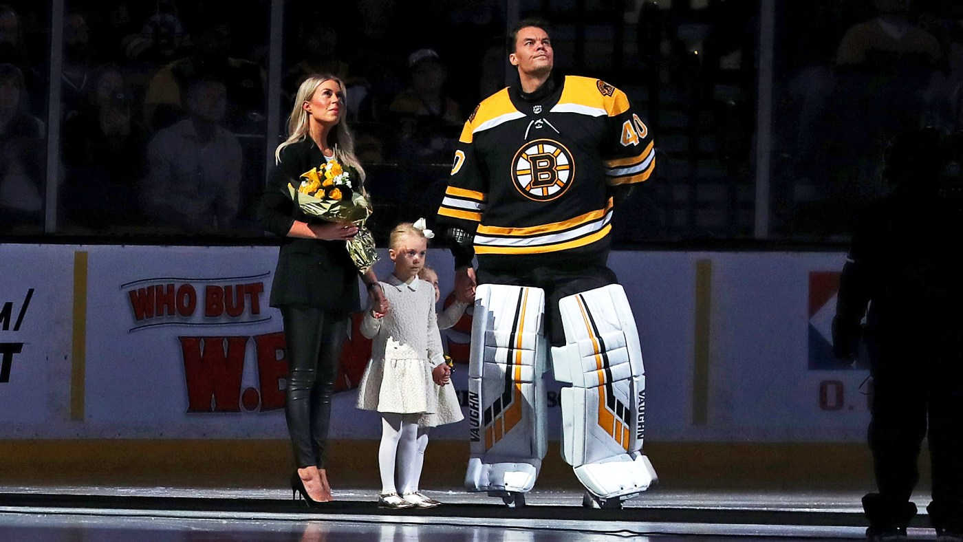 Tuukka Rask with his family.