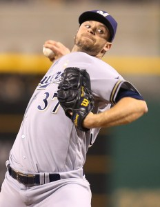 Sep 2, 2016; Pittsburgh, PA, USA; Milwaukee Brewers relief pitcher Tyler Thornburg (37) pitches against the Pittsburgh Pirates during the ninth inning at PNC Park. The Brewers won 1-0. Mandatory Credit: Charles LeClaire-USA TODAY Sports