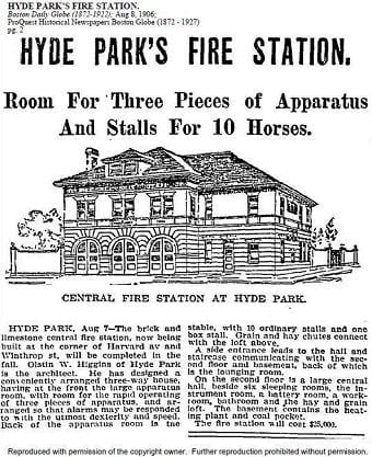 A newspaper story on the construction of the firehouse.