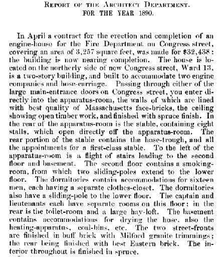 A description of the firehouse, from the Annual Report of the City Architect Department for 1890.