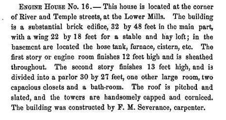 An 1870 City Report on the construction of the firehouse.