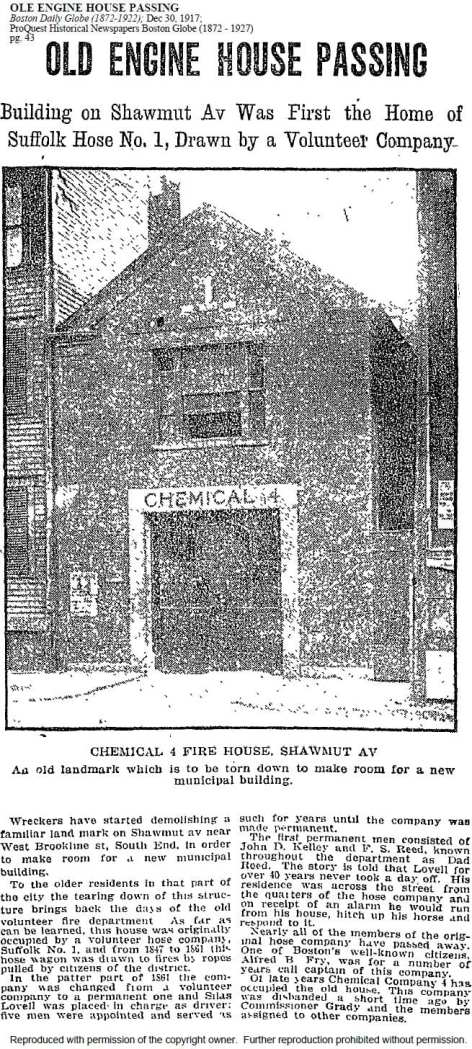Newspaper story on the demolition of the old firehouse in 1917.