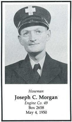 Photo of Hoseman Joseph C. Morgan, Engine Company 49, LODD, May 4, 1950.