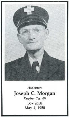 Photo of Hoseman Joseph C. Morgan, Engine Company 49, LODD, May 4, 1950.