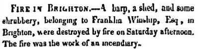 1849 Boston Atlas newspaper story of a barn fire in Brighton.