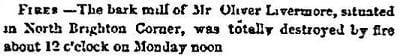 1846 Boston Atlas newspaper story of a bark mill fire in North Brighton Corner.