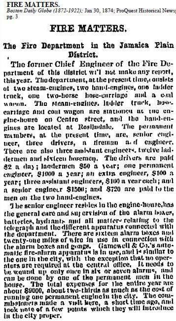 Newspaper story regarding the status of the 'Jamaica Plain' fire district