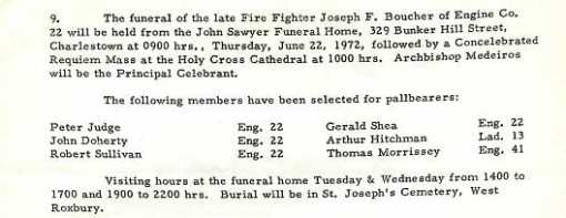 Funeral detail for Fire Fighter Joseph F. Boucher, Jr.