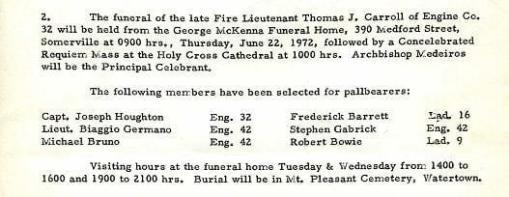 Funeral detail for Fire Lieutenant Thomas J. Carroll.