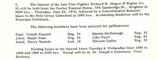Funeral detail for Fire Fighter Richard B. Magee.