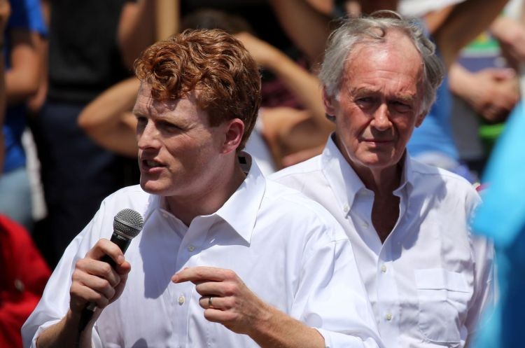 US Congressman Joe Kennedy and US Senator Edward Markey spoke to demonstrators during a rally at City Hall Plaza in Boston, MA on June 30, 2018.