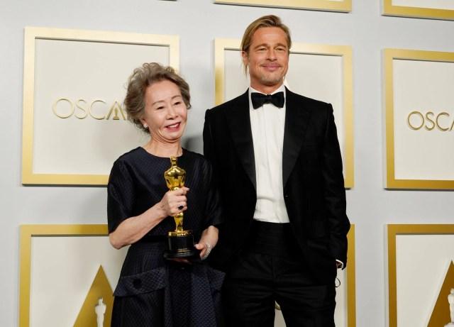 Yuh-Jung Youn sends Brad Pitt some love after historic Oscars win