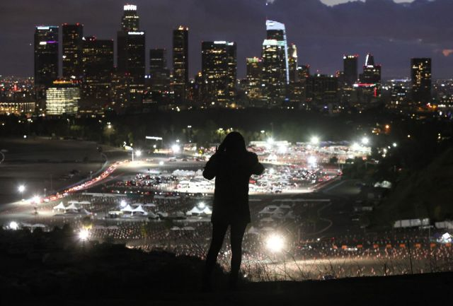 A person took a photo of a mass COVID-19 vaccination site at Dodger Stadium in Los Angeles.