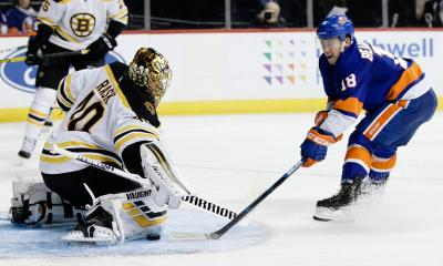 Boston Bruins Tuukka Rask Makes a Save
