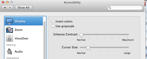 Mac OSX Mountain Lion Accessibility Display Options