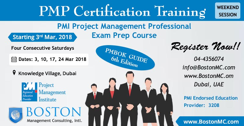 PMP Project Management Professional Weekend Session Staturday Classes in Dubai PMI Endorsed Training Center and Institute