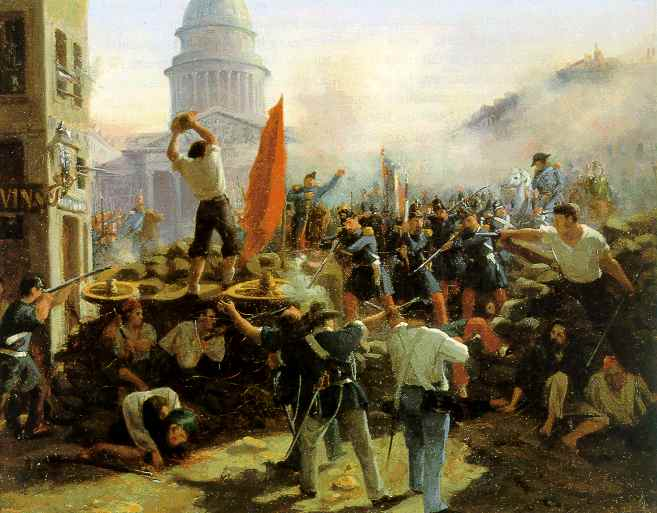 "Horace Vernet's painting depicting the fighting near the Pantheon during the ""June Days"" in Paris in 1848"