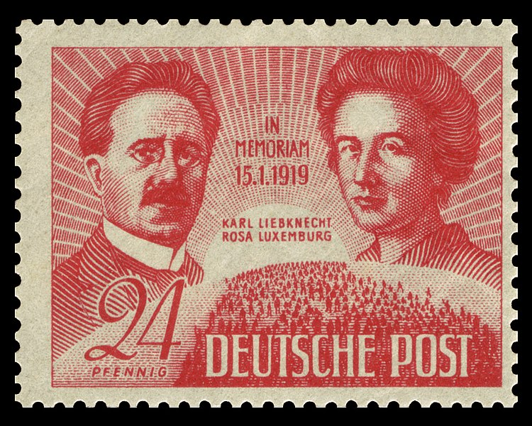 Karl Liebknecht and Rosa Luxemburg on a 1949 Stamp issued by the German Democratic Republic