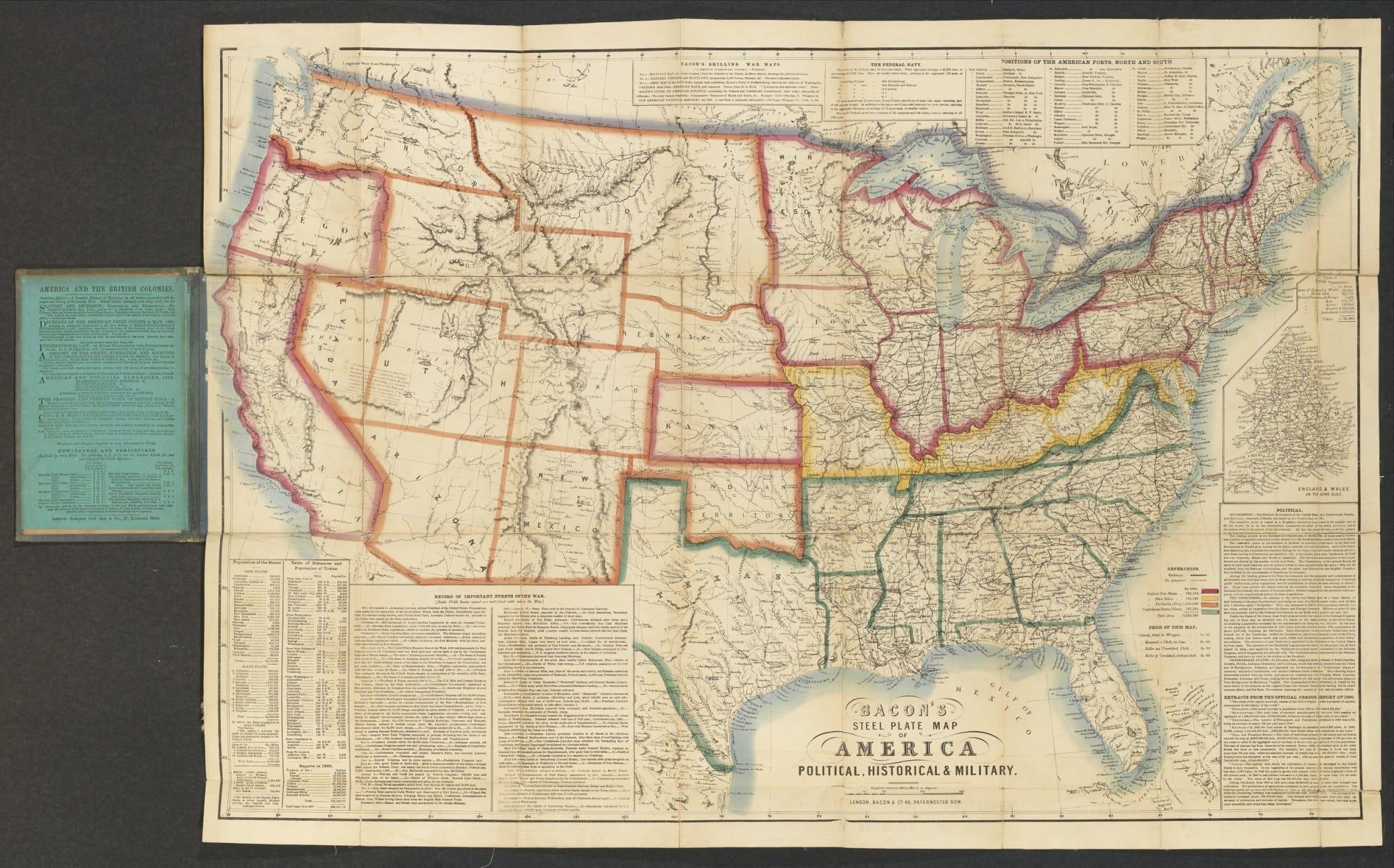 Rare British Map Of The American Civil War