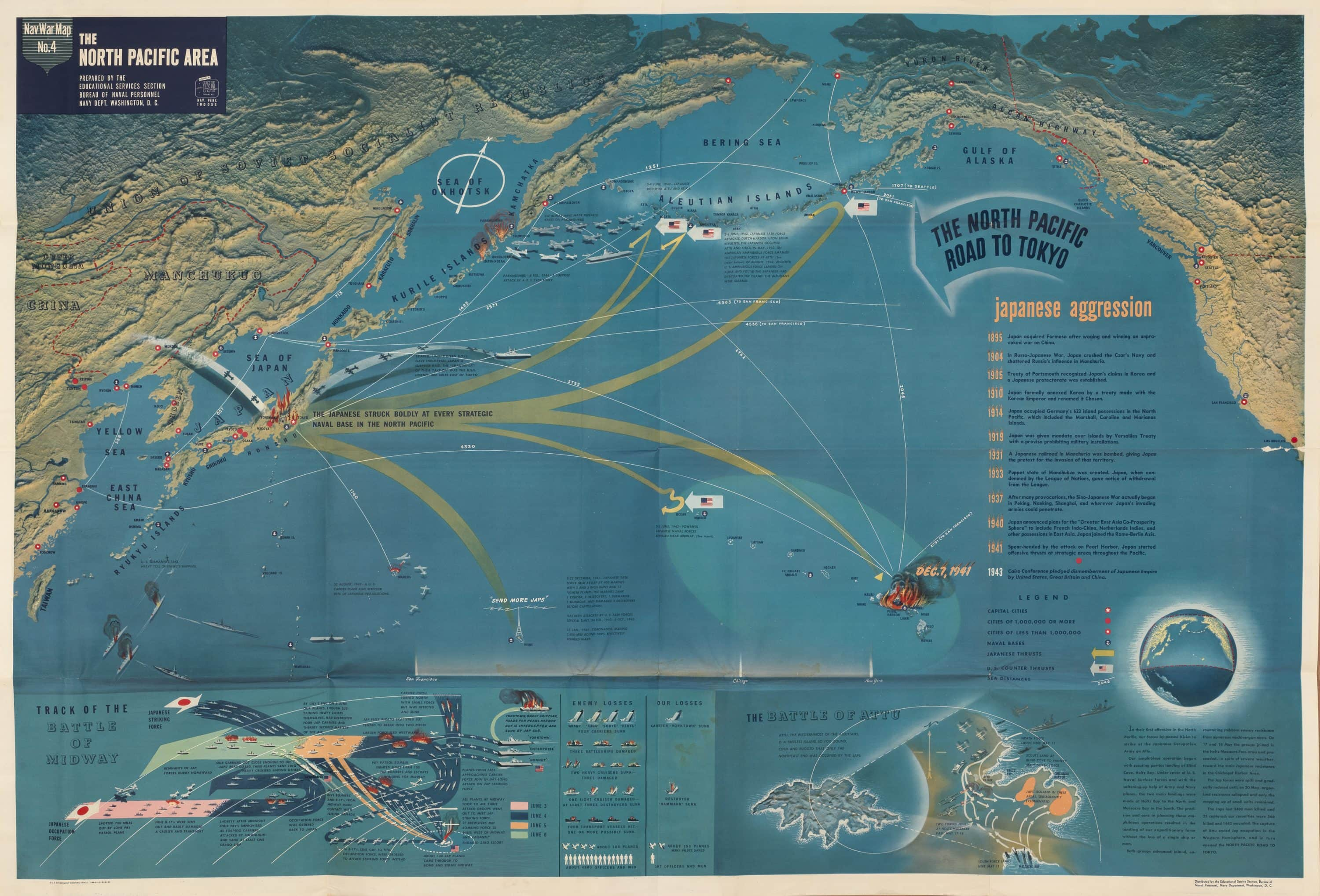 Striking U S Navy Map Of The North Pacific In Wwii
