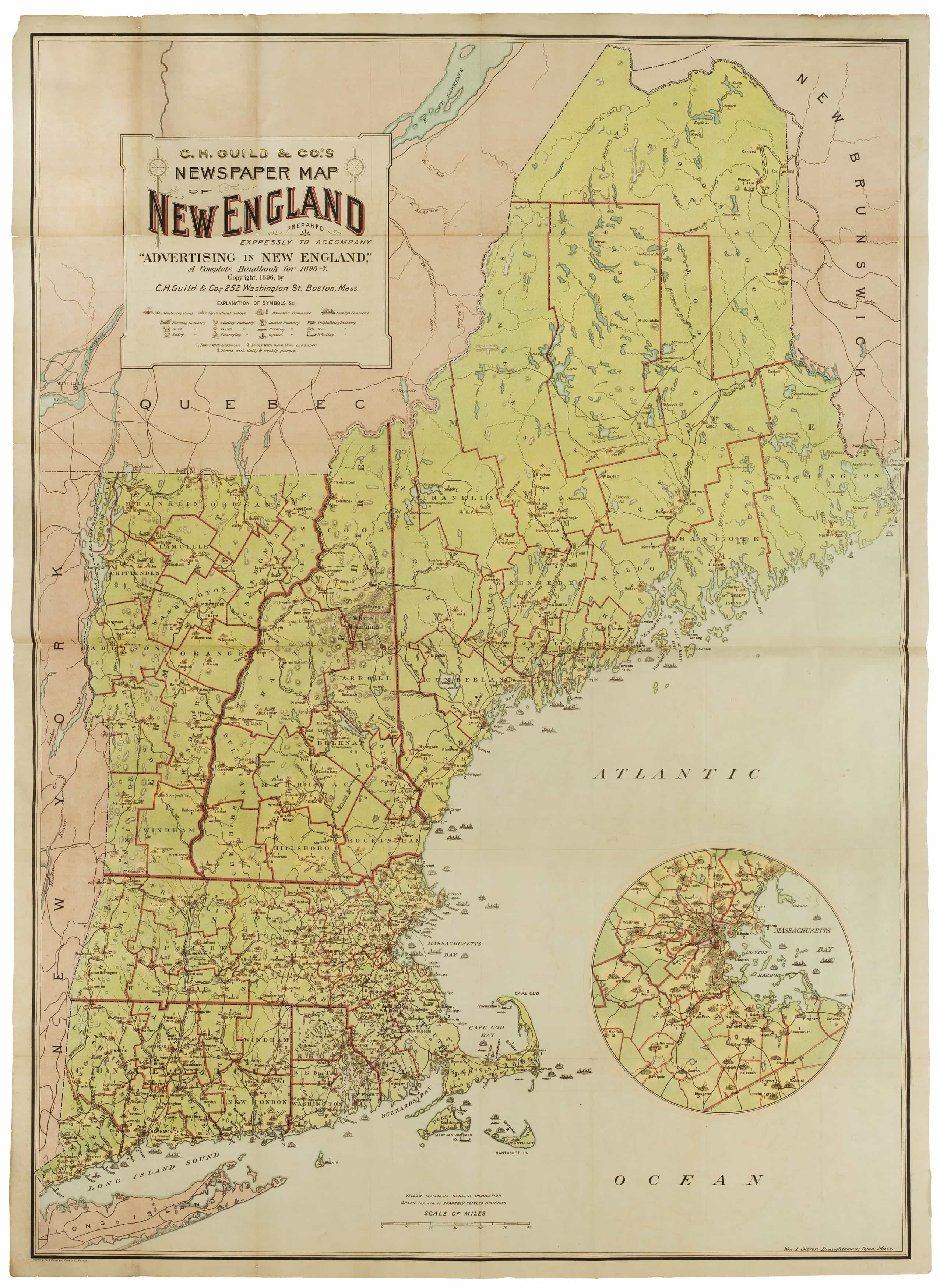 Unrecorded Thematic Map Of New England Newspapers