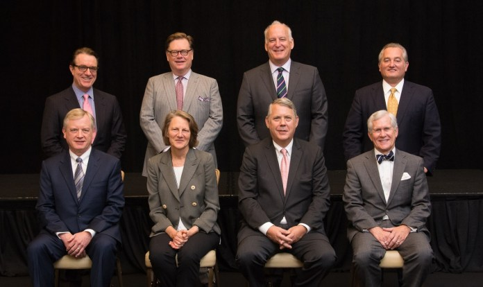 AFIRE Executive Committee 2016: Front row (left to right):Corporate Secretary, Donald M. Wise, Metzler North America;Deputy Chairman, Catherine L. Pfeiffenberger, Skanska USA Commercial Development Inc.; Chairman, Francis P. Lively, Wafra Investment Advisory Group; Chief Executive, James A. Fetgatter, AFIRE    Second row (left to right):Prior Year Chairman, Thomas R. Arnold, ADIA;Director of Legal and Tax, R. Byron Carlock, PricewaterhouseCoopers LLP; Director of Membership,Stephen R. Collins, Jones Lang LaSalle; Member at Large, Glenn Grimaldi, HSBC Bank USA, NA