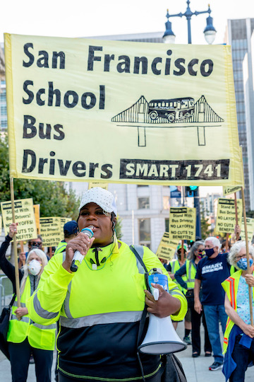 Solidarity w/ San Francisco school bus drivers!  Health care is a human right!