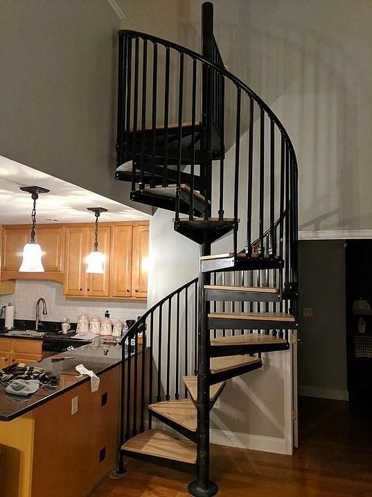 Metal Spiral Stairs In Boston Boston Stair | Metal Stairs With Wood Treads | Straight Steel | Single Steel Stringer | I Beam | Metal Railing | Timber