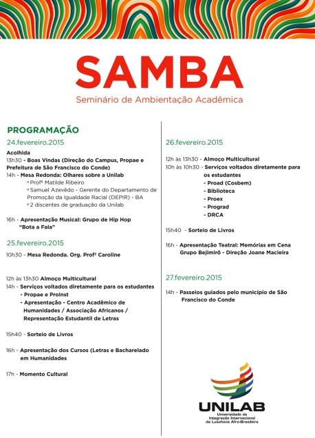 FOLHETO PROGRAMAÇÃO SAMBA (bahia)