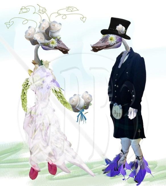 Wedding pair, groom in his Kilt