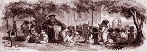 Image: Charles Doussault, 'A class in the open', wood engraving, approx. 1842.