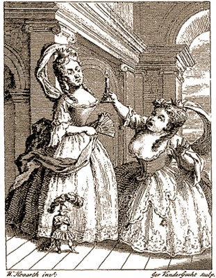 Image: William Hogarth, frontispiece for Henry Fielding. The tragedy of tragedies; or the life and death of Tom Thumb the Great. London: printed for Harrison and Co., 1731.