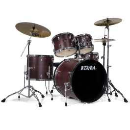 Tama IMPERIALSTAR 5-PIECE DRUM KIT – Burgundy Walnut Finish + Meinl HCS Cymbal Pack