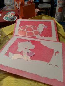 Valentine Cards. papercutting, chalk and acrylic paints