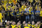 """Michigan basketball fans cheer as they wait for a placement announcement during """"Selection Sunday"""" at Crisler Arena on Sunday. Melanie Maxwell I AnnArbor.com"""