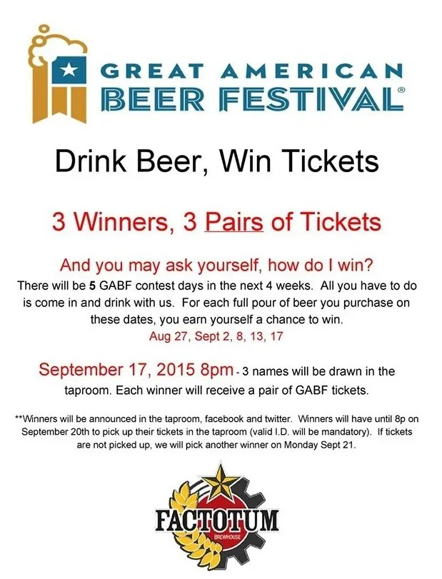Win GABF Tickets at Factotum Brewhouse | bottlemakesthree.com