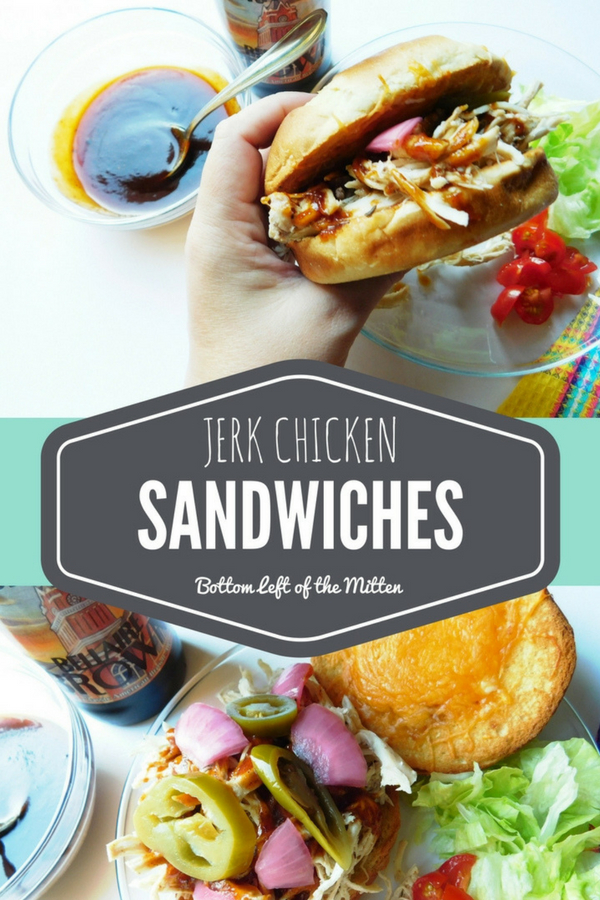 These jerk chicken sandwiches are a vacation from the ordinary. Jerk chicken, toasted bun then drizzled with sauce and topped with red onions and jalapenos. #jerkchicken #sandwich #crockpot #slowcookersandwich #dinner #spicy #jerksauce #jerkseasoning