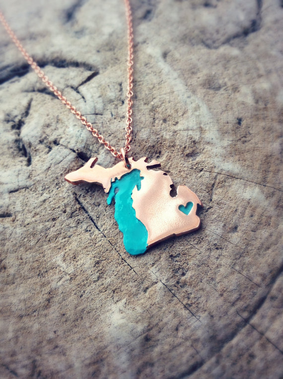 Copper Michigan Love pendant | Sprouts And Roots