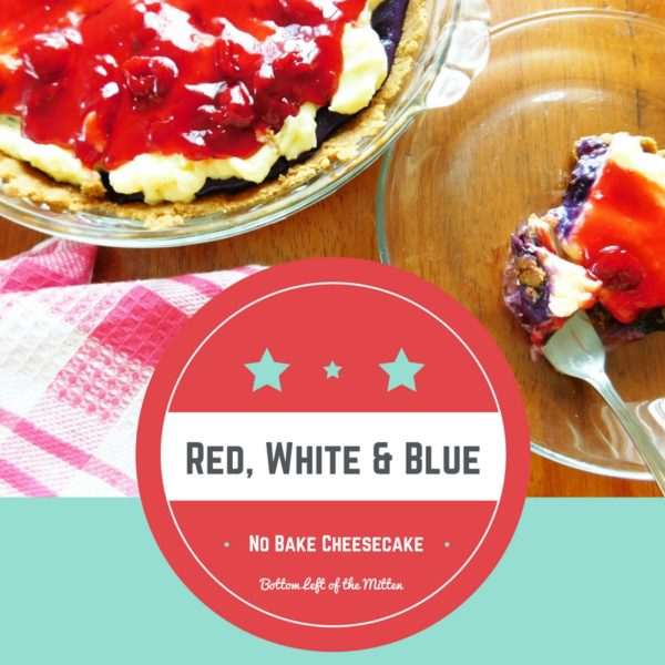 Red White & Blue No Bake Cheesecake in a pie pan and a piece on a plate.