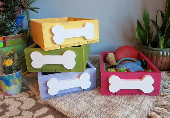 Fun storage boxes for dog toys from PalletTimeBlue | 'Celebrate with 8' for Get Organized Month | Bottom Left of the Mitten