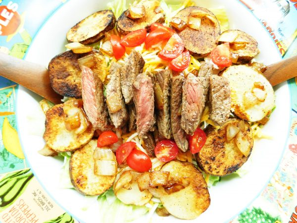 Cajun Steak & Potato Salad | Celebrate with 8 National Salad Month | Bottom Left of the Mitten
