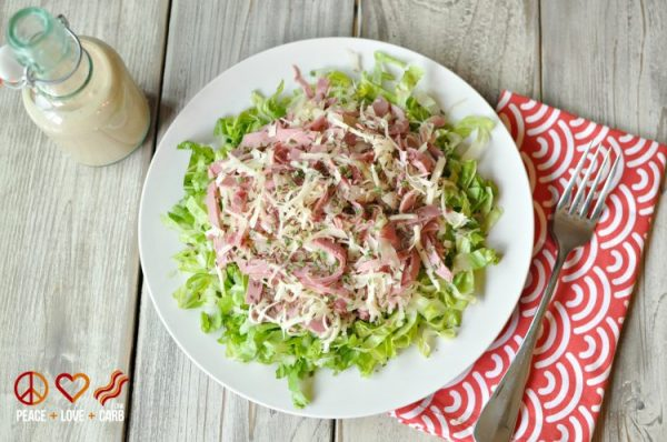 Low Carb Reuben Chopped Salad with Russian Dressing from Peace, Love and Low Carb | Celebrate with 8 National Salad Month | Bottom Left of the Mitten