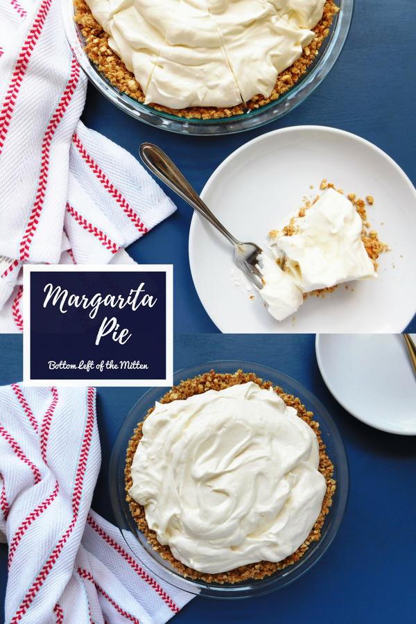 Margarita Pie is a creamy, citrus no-bake pie with a pretzel crust is the perfect summer treat. #pie #nobakedessert #cookout #pretzelcrust #pretzelpiecrust #nobakepie #summerdessert #lime #margaritapie #pretzel #dessert